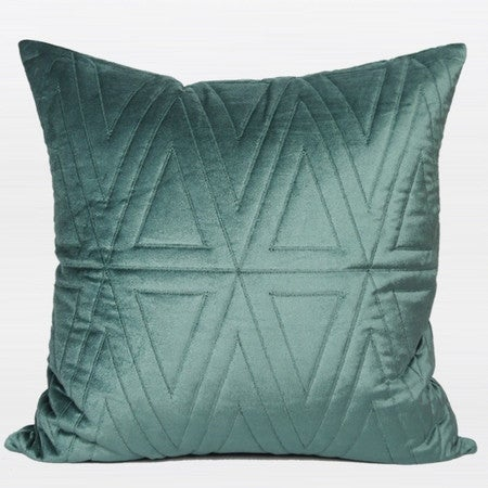 "G Home Collection Luxury Lack Blue Triangle Pattern Quilting Pillow 22""X22"""
