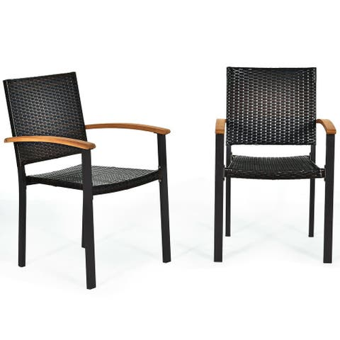 """Set of 2 Outdoor Patio PE Rattan Dining Chairs - 23.5"""" x 22"""" x 34.5 """" (L x W x H)"""