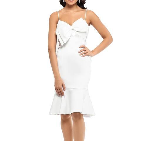 Xscape Womens Dress White Size 8 Sheath Bow Front Flounce Hem V Neck