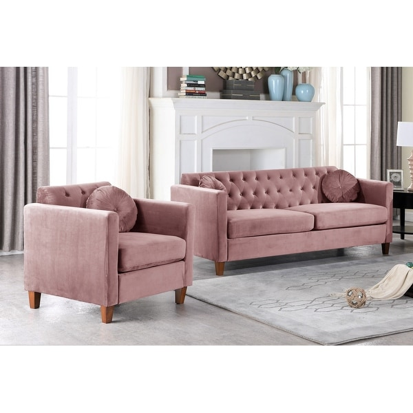 Persaud Kitts Classic Chesterfield Sofa and Chair Living Room Set. Opens flyout.