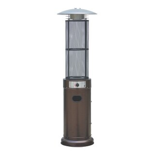 Belleze Circle Round Pyramid Outdoor Home Commercial Glass Tube with Flames Heater Patio Heater, Hammered Bronze