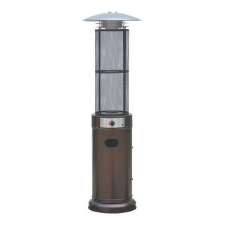 Belleze Circle Round Pyramid Outdoor Home Commercial Glass Tube With Flames Heater  Patio Heater, Hammered