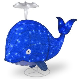 """40"""" LED Spouting Blue Sisal Whale Outdoor Decoration"""