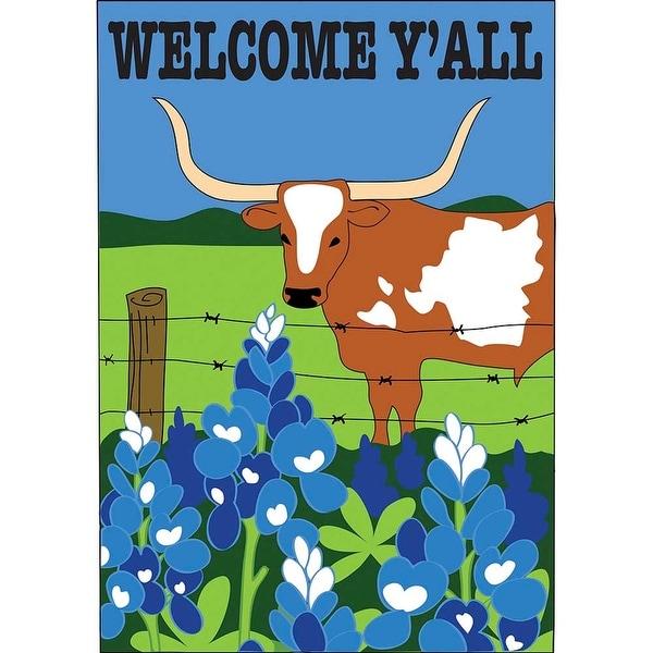 "Blue, Green and Brown Welcome Ya'll Longhorn Garden Flag 13"" x 18"" - N/A"