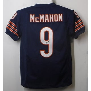 Jim McMahon Autographed Chicago Bears Size XL Blue Jersey Name Only JSA