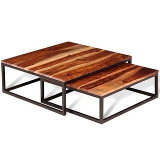 vidaXL Two Piece Nesting Coffee Table Set Solid Sheesham Wood