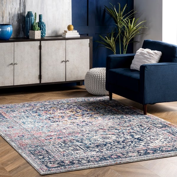 nuLOOM Distressed Vintage Faded Floral Area Rug. Opens flyout.