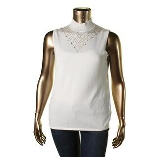 Cable & Gauge Womens Beaded Mock-Neck Sweater Vest