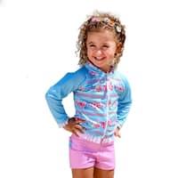 Sun Emporium Little Girls Sky Blue Pink Long Sleeve Zip Jacket Boyleg Set