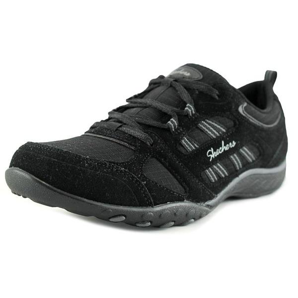 Skechers Breathe Easy-Good Luck Women Round Toe Suede Black Sneakers