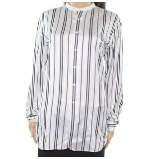 Polo Ralph Lauren NEW White Navy Women 12 Silk Stripe Button Down Top