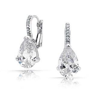 Bling Jewelry CZ Teardrop Leverback Earrings Rhodium Plated Brass
