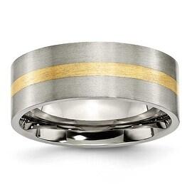 Chisel 14k Gold Inlaid Flat Brushed Titanium Ring (8.0 mm) - Sizes 6-13