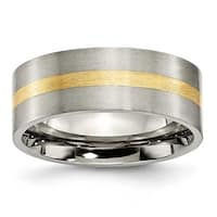 Chisel 14k Gold Inlaid Flat Brushed Titanium Ring (8.0 mm) - Sizes 6-13