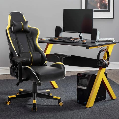 Reclining Swivel Racing Office Gaming Chair with Lumbar Support