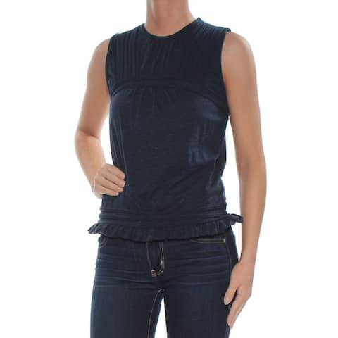 MAX STUDIO Womens Navy Pleated Ruffled Sleeveless Crew Neck Top Size: XS