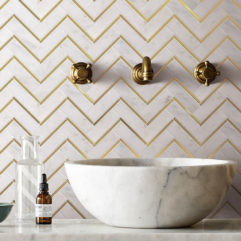TileGen. Natural Bianco Herringbone Metal and Marble Mosaic Tile in Gold/White Wall Tile (10 sheets/8.5sqft.)