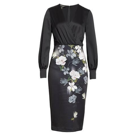 Ted Baker Alithea Black Long Sleeve Midi Dress