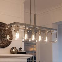 "Luxury Modern Farmhouse Chandelier, 15.75""H x 36.75""W, with Industrial Chic Style, Brushed Nickel Finish by Urban Ambiance"