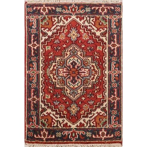 "Geometric Rust Heriz Oriental Home Decor Area Rug Wool Hand-Knotted - 2'0"" x 3'1"""