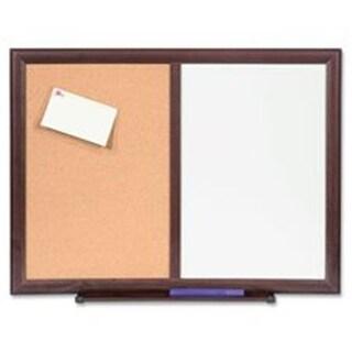 Dry-Erase Bulletin Board Combo, 24 in. x 18 in., Mahogany