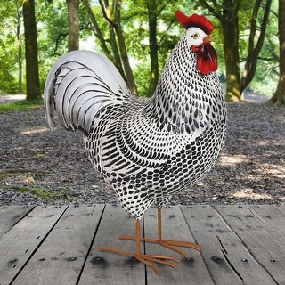 Link to Exhart Black and White Rooster Garden Statue, 17 Inch Similar Items in Outdoor Decor