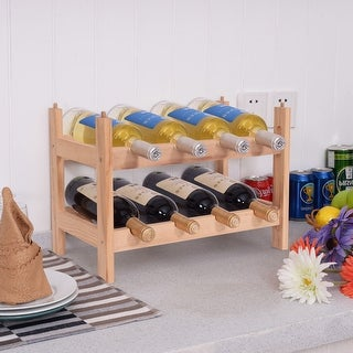 Costway 8 Bottle Wood Wine Rack Holder 2 Tier Storage Display Shelves Kitchen Decor