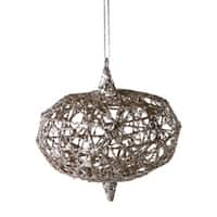 """Urban Nature Gold Wire with Silver Glitter Onion Christmas Ornament 4"""""""