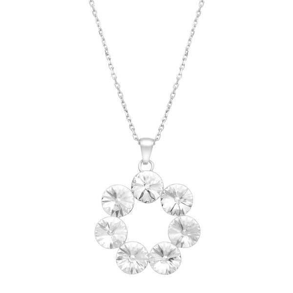 Crystaluxe Wreath Pendant with Swarovski Crystals in Sterling Silver - White