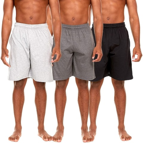 Essential Elements 3 Pack: Men's 100% Cotton Sleep Lounge Casual Shorts with Pockets