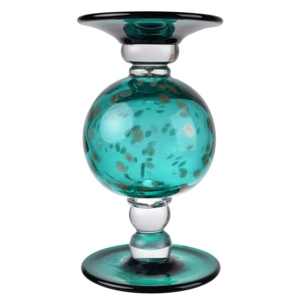 "9.5"" Teal Green and White Surge Pillar Candle Holder - N/A"