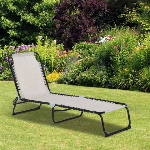 Outsunny 3-Position Reclining Beach Chair Chaise Lounge Folding Chair with Comfort Ergonomic Design, White