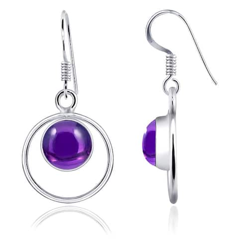 Amazonite,Amethyst Sterling Silver Round Dangle Earrings by Orchid Jewelry