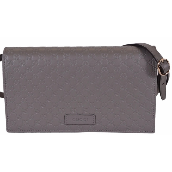 07bcaba7df80 Gucci 466507 Grey Leather Micro GG Guccissima Crossbody Wallet Bag Purse -  loess - 8