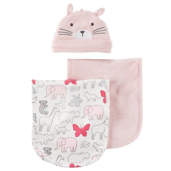 Shop Carter S Baby Girls 3 Piece Animal Burp Cloths Hat Set One
