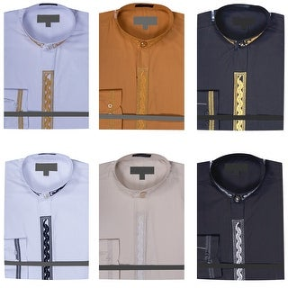 Men's Banded Collar Dress Shirt with Embroidery (More options available)