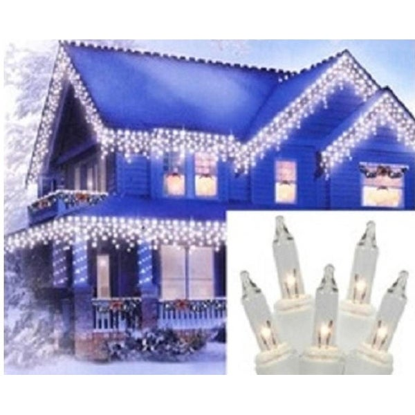 "Set of 300 Heavy Duty Clear Icicle Christmas Lights 3"" Spacing - White Wire"