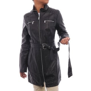 Kenneth Cole NY Women Belted Leather Zipper Trench Coat Trench Black