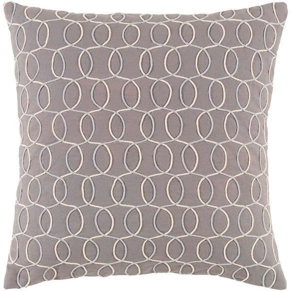 "18"" Platinum Gray, Silver and Eggshell White Woven Decorative Throw Pillow-Down Filler"