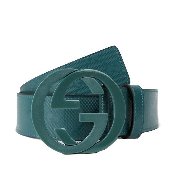 c69246b7345 Shop Gucci Men s Teal Imprime Interlocking G Buckle Belt 223891 4715 ...