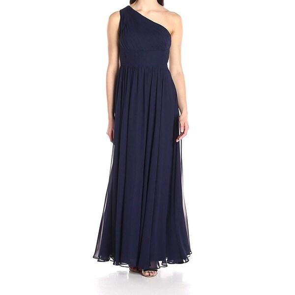 Eliza J Blue Womens Size 8 One-Shoulder Shirred Chiffon Gown Dress
