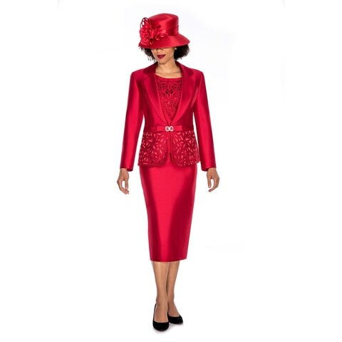 Giovanna Collection Women's Cutout & Beading Embellished 3-piece Skirt Suit