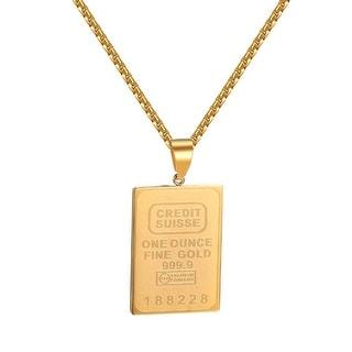 Credit Bar Designer Pendant 14k Gold Tone Stainless Steel Mens Hip Hop Necklace