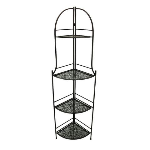 4 Tier Brown Metal Decorative Corner Rack Display Shelf 61 inch - 61.5 X 18.25 X 13.75 inches
