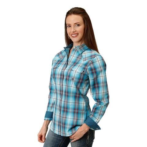 Roper Western Shirt Womens L/S Snap Plaid Turq