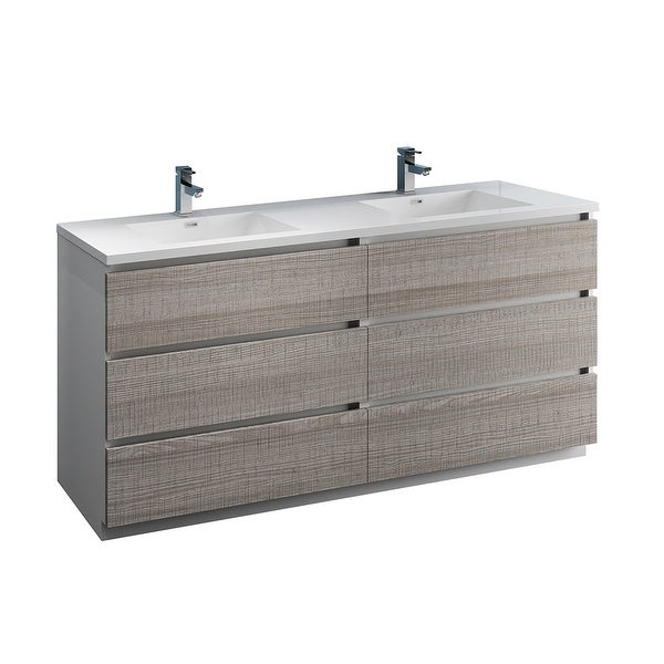 """Fresca FCB93-3636-D-I Senza 72"""" Free Standing Double Basin Vanity Set with MDF Cabinet and Acrylic Vanity Top"""
