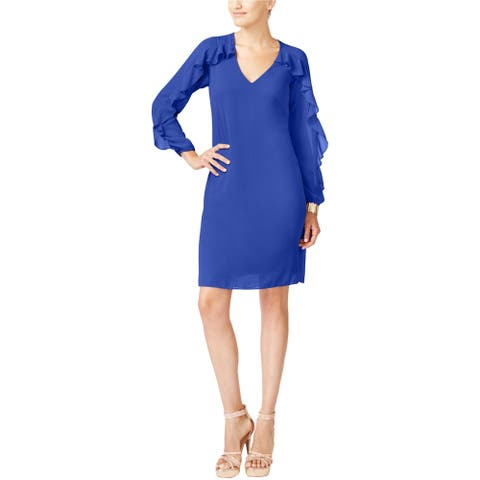 Thalia Sodi Womens Ruffled Illusion Shift Dress, Blue, Small