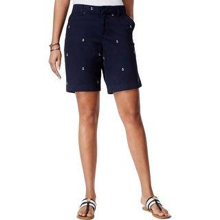 Tommy Hilfiger Womens Bermuda, Walking Shorts Cotton Anchor Print