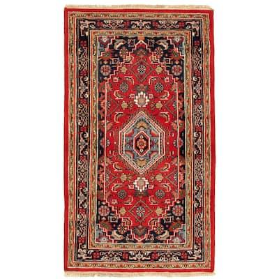 ECARPETGALLERY Hand-knotted Royal Mahal Dark Red Wool Rug - 3'1 x 5'4