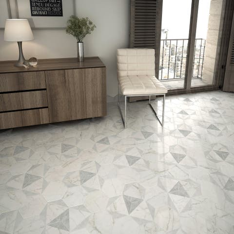 "SomerTile Classico Carrara Hexagon Peak 7"" x 8"" Porcelain Floor and Wall Tile"